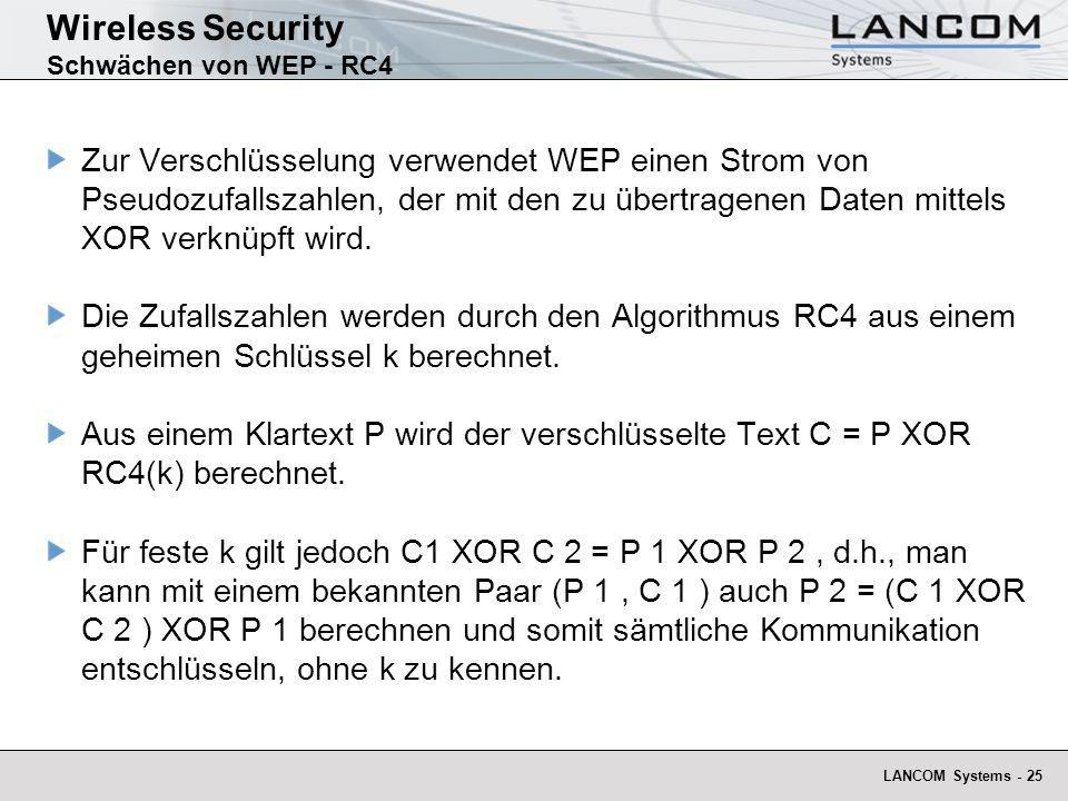 Wireless Security Schwächen von WEP - RC4