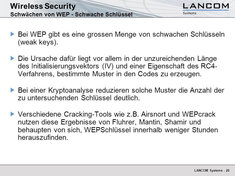 Wireless Security Schwächen von WEP - Schwache Schlüssel