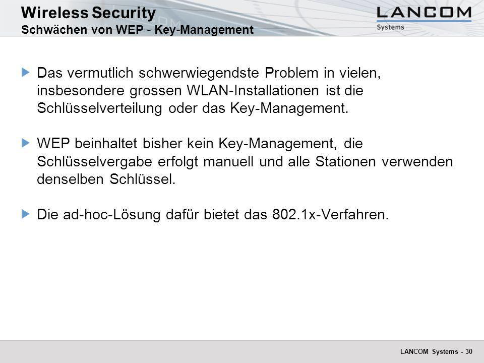 Wireless Security Schwächen von WEP - Key-Management