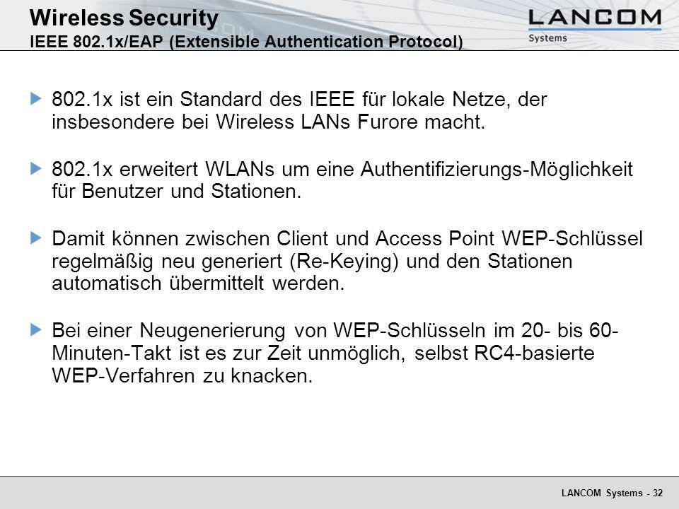 Wireless Security IEEE 802.1x/EAP (Extensible Authentication Protocol)