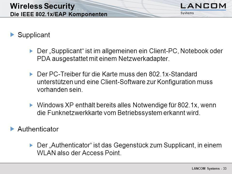 Wireless Security Die IEEE 802.1x/EAP Komponenten
