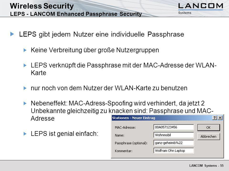 Wireless Security LEPS - LANCOM Enhanced Passphrase Security