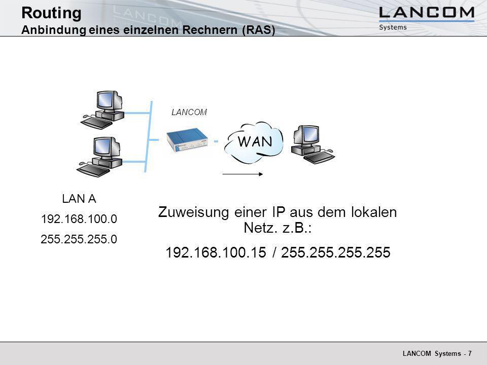Routing Anbindung eines einzelnen Rechnern (RAS)