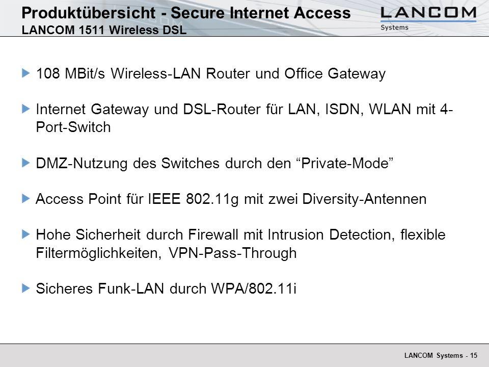 Produktübersicht - Secure Internet Access LANCOM 1511 Wireless DSL