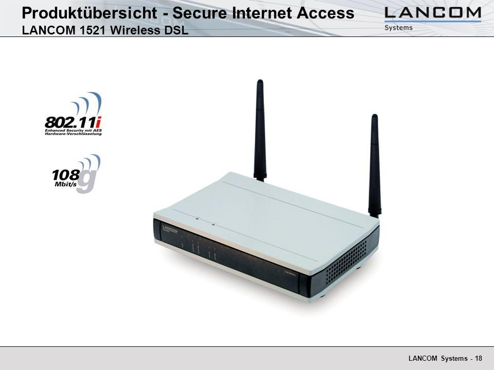 Produktübersicht - Secure Internet Access LANCOM 1521 Wireless DSL