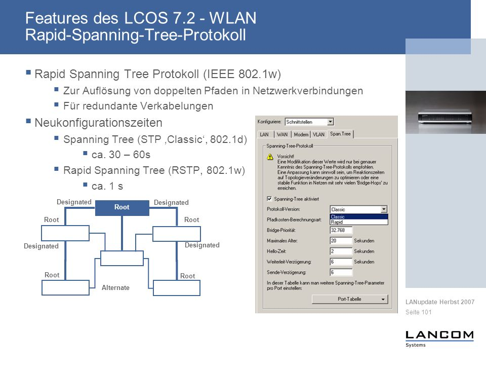 Features des LCOS 7.2 - WLAN Rapid-Spanning-Tree-Protokoll