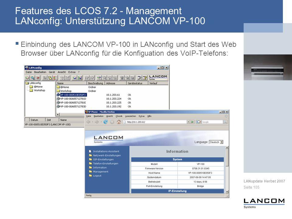 Features des LCOS 7.2 - Management LANconfig: Unterstützung LANCOM VP-100