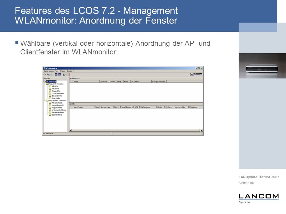 Features des LCOS 7.2 - Management WLANmonitor: Anordnung der Fenster