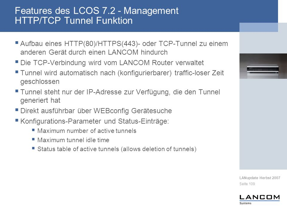 Features des LCOS 7.2 - Management HTTP/TCP Tunnel Funktion