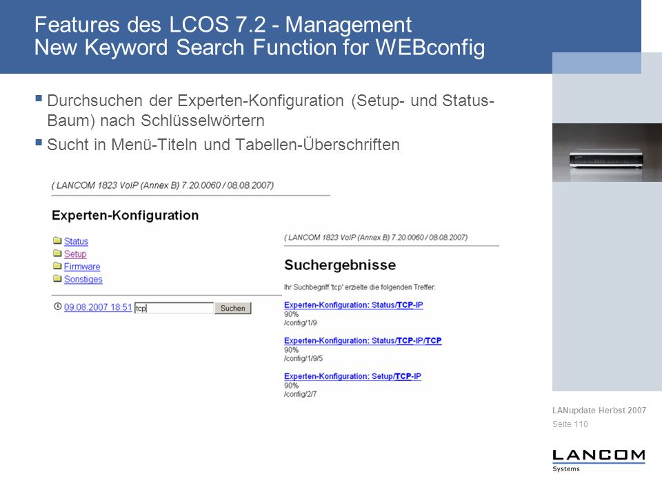 Features des LCOS 7.2 - Management New Keyword Search Function for WEBconfig