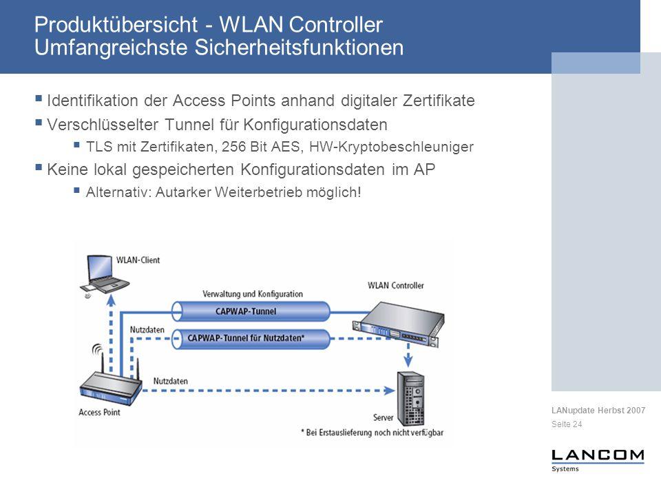 Produktübersicht - WLAN Controller Umfangreichste Sicherheitsfunktionen