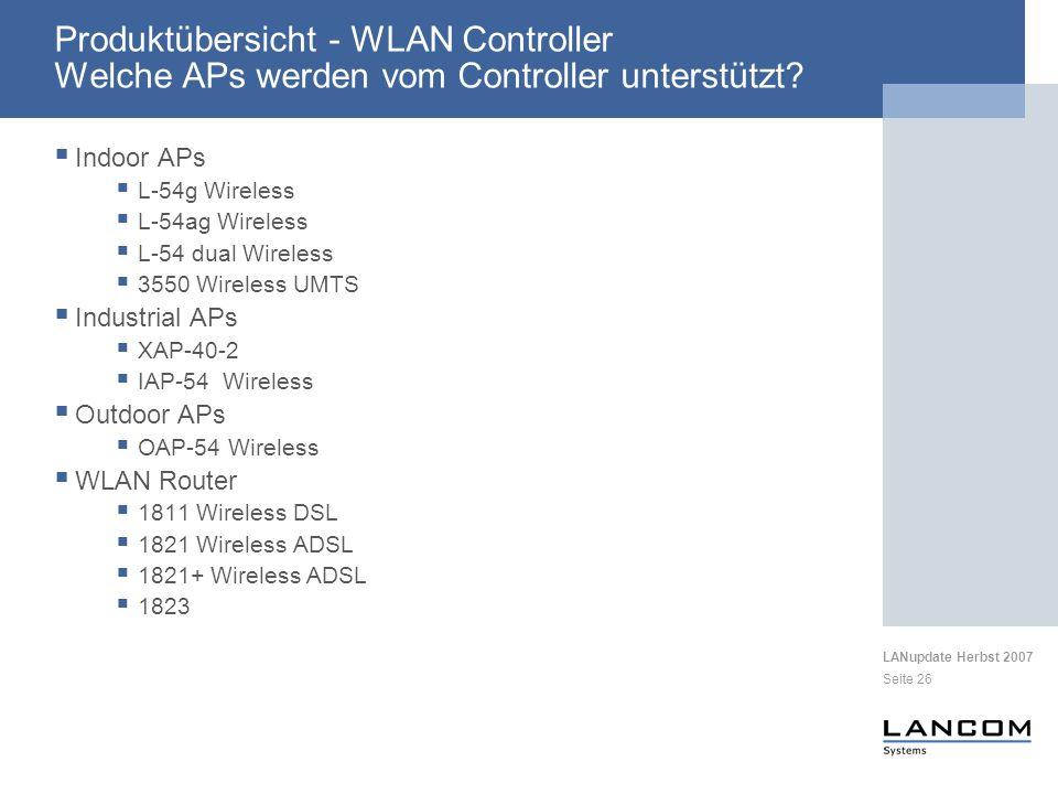 Produktübersicht - WLAN Controller Welche APs werden vom Controller unterstützt