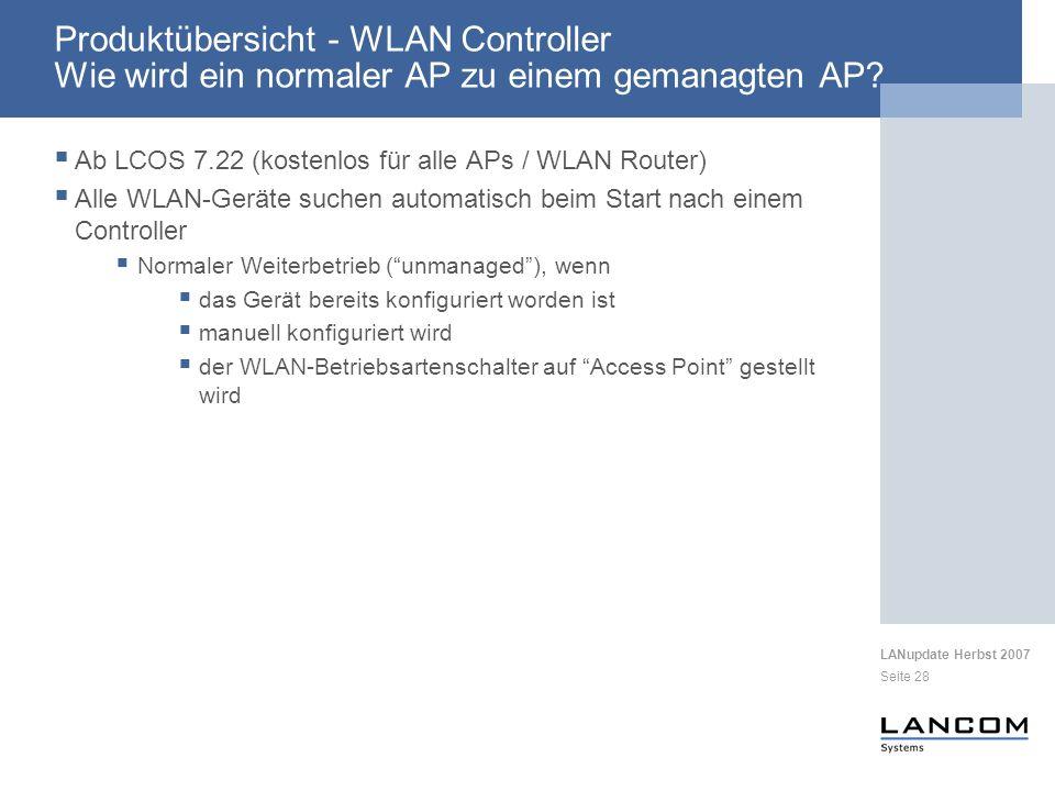 Produktübersicht - WLAN Controller Wie wird ein normaler AP zu einem gemanagten AP