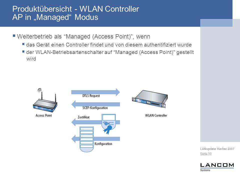 """Produktübersicht - WLAN Controller AP in """"Managed Modus"""