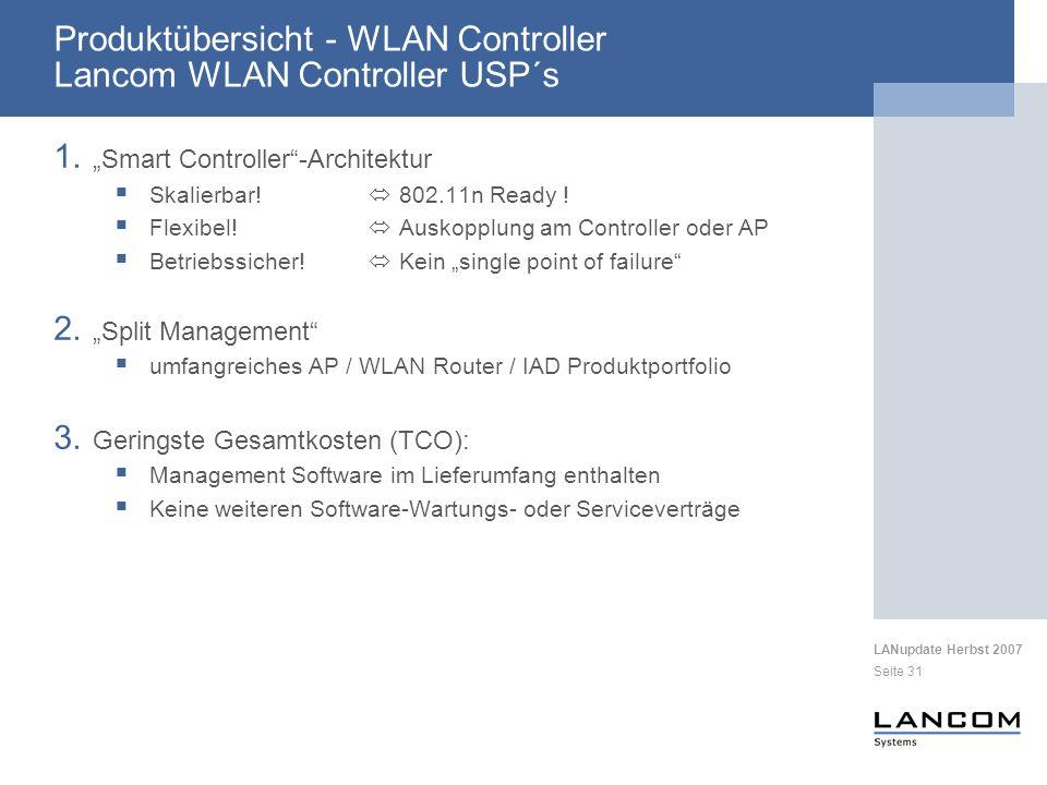 Produktübersicht - WLAN Controller Lancom WLAN Controller USP´s