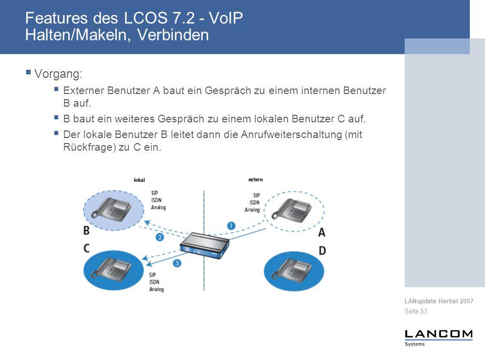 Features des LCOS 7.2 - VoIP Halten/Makeln, Verbinden