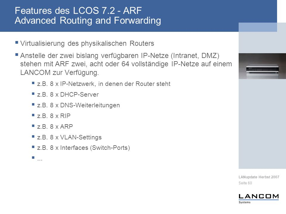 Features des LCOS 7.2 - ARF Advanced Routing and Forwarding
