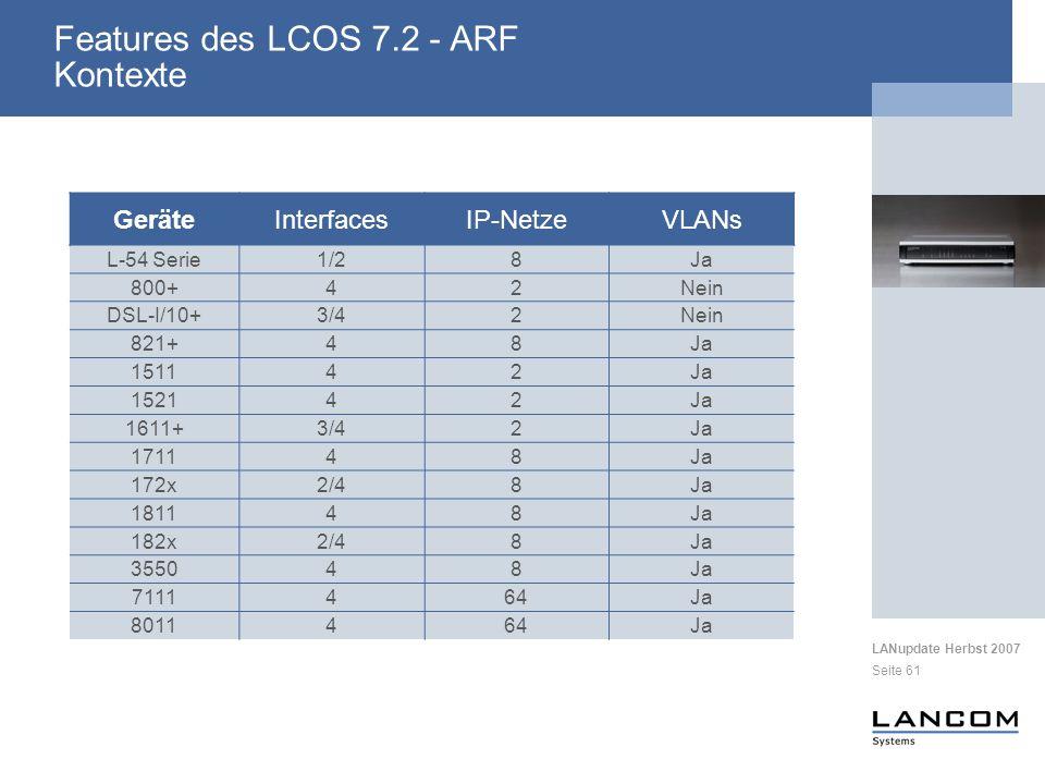 Features des LCOS 7.2 - ARF Kontexte