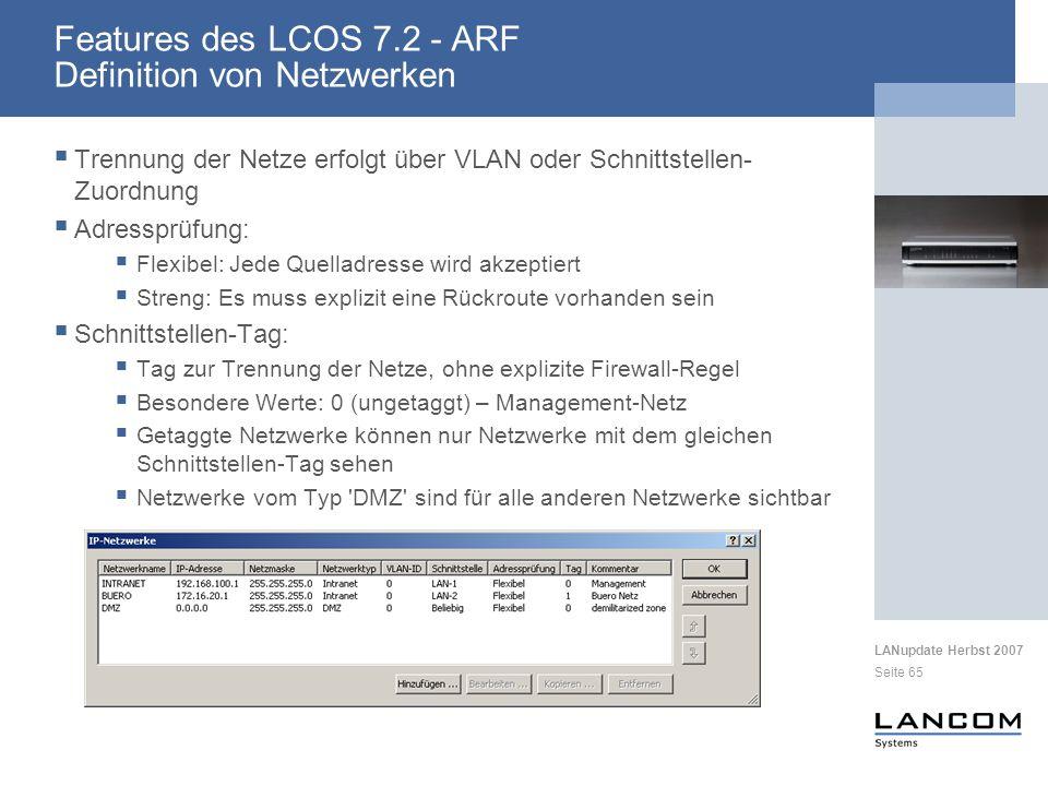 Features des LCOS 7.2 - ARF Definition von Netzwerken