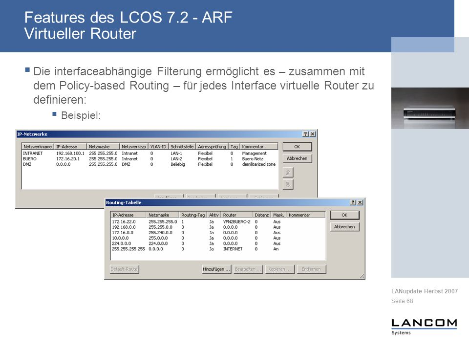 Features des LCOS 7.2 - ARF Virtueller Router