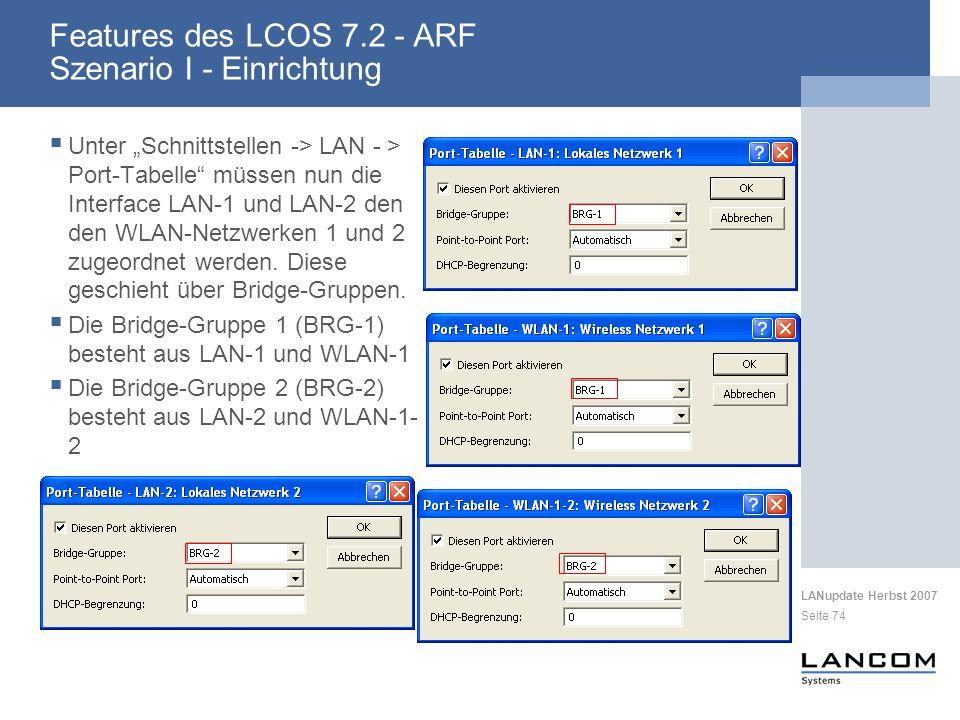 Features des LCOS 7.2 - ARF Szenario I - Einrichtung