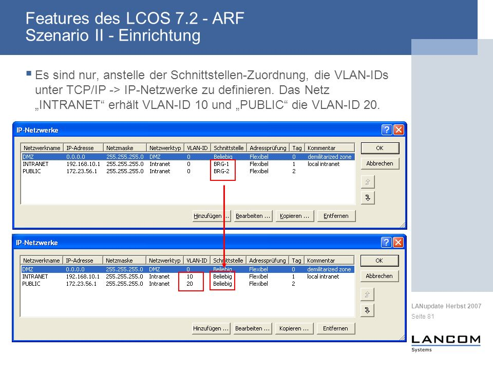 Features des LCOS 7.2 - ARF Szenario II - Einrichtung