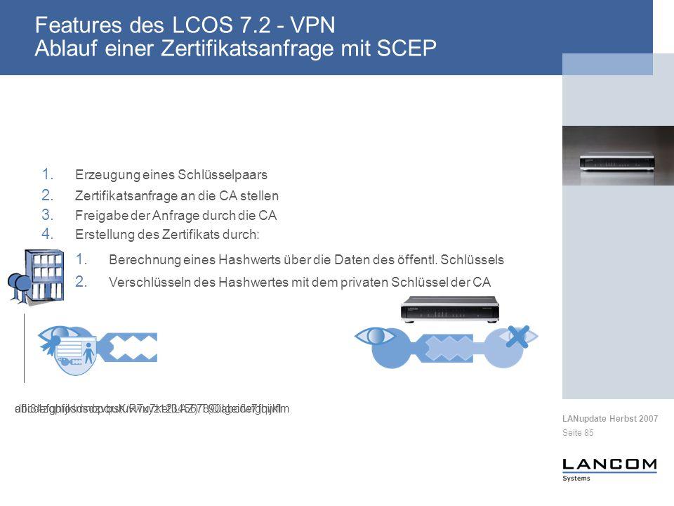 Features des LCOS 7.2 - VPN Ablauf einer Zertifikatsanfrage mit SCEP