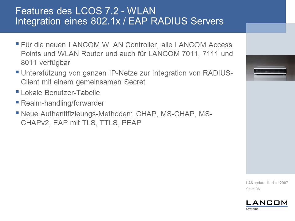 Features des LCOS 7. 2 - WLAN Integration eines 802