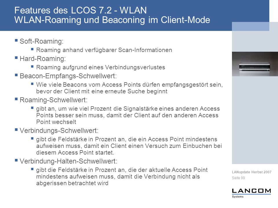 Features des LCOS 7.2 - WLAN WLAN-Roaming und Beaconing im Client-Mode