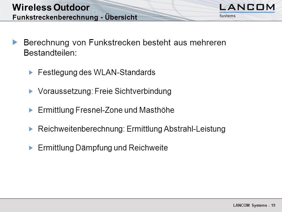 Wireless Outdoor Funkstreckenberechnung - Übersicht