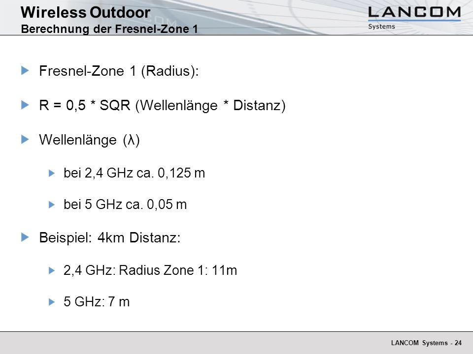 Wireless Outdoor Berechnung der Fresnel-Zone 1