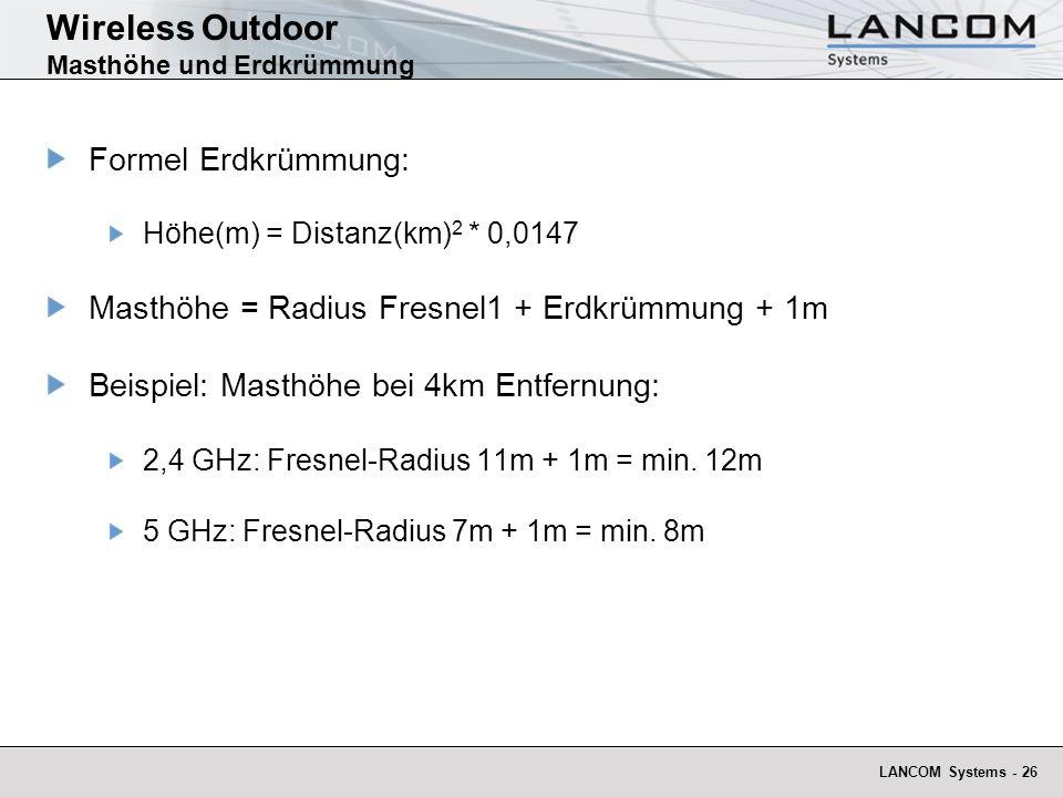 Wireless Outdoor Masthöhe und Erdkrümmung