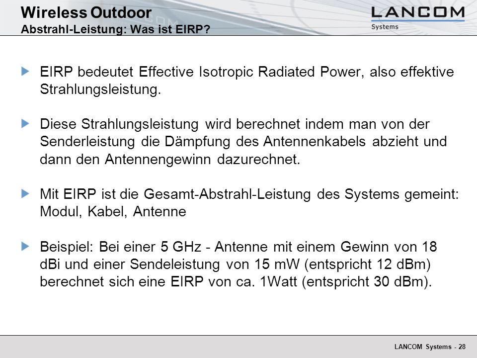 Wireless Outdoor Abstrahl-Leistung: Was ist EIRP