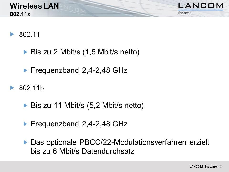 Bis zu 2 Mbit/s (1,5 Mbit/s netto) Frequenzband 2,4-2,48 GHz