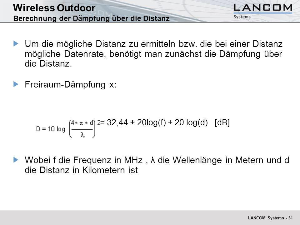 Wireless Outdoor Berechnung der Dämpfung über die Distanz