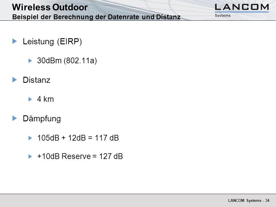 Wireless Outdoor Beispiel der Berechnung der Datenrate und Distanz