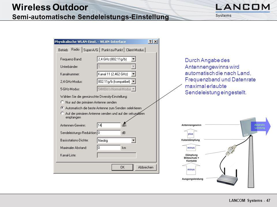 Wireless Outdoor Semi-automatische Sendeleistungs-Einstellung