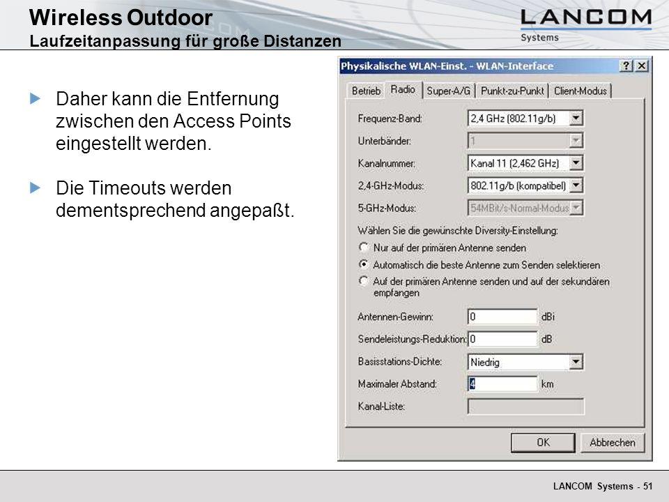 Wireless Outdoor Laufzeitanpassung für große Distanzen