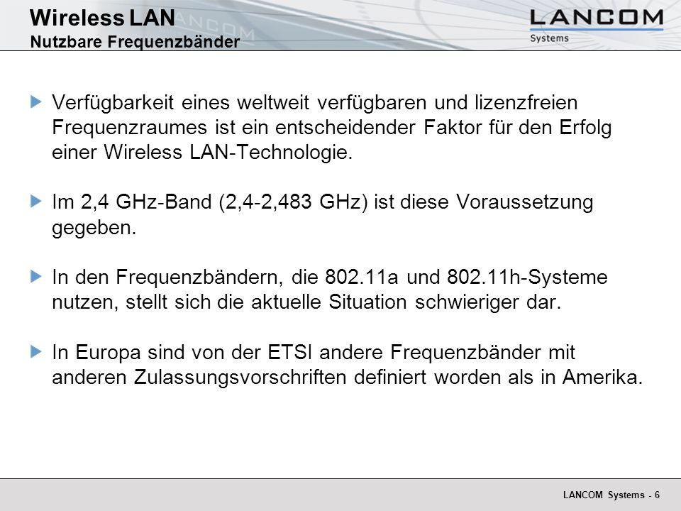 Wireless LAN Nutzbare Frequenzbänder