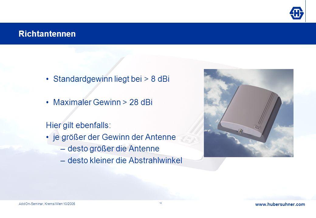 Standardgewinn liegt bei > 8 dBi Maximaler Gewinn > 28 dBi