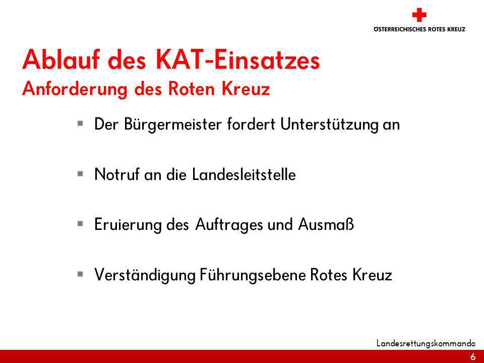 Ablauf des KAT-Einsatzes Anforderung des Roten Kreuz