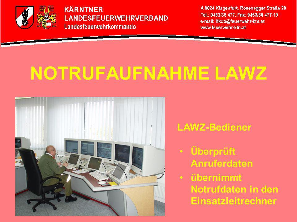 NOTRUFAUFNAHME LAWZ LAWZ-Bediener Überprüft Anruferdaten
