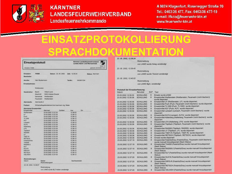 EINSATZPROTOKOLLIERUNG SPRACHDOKUMENTATION