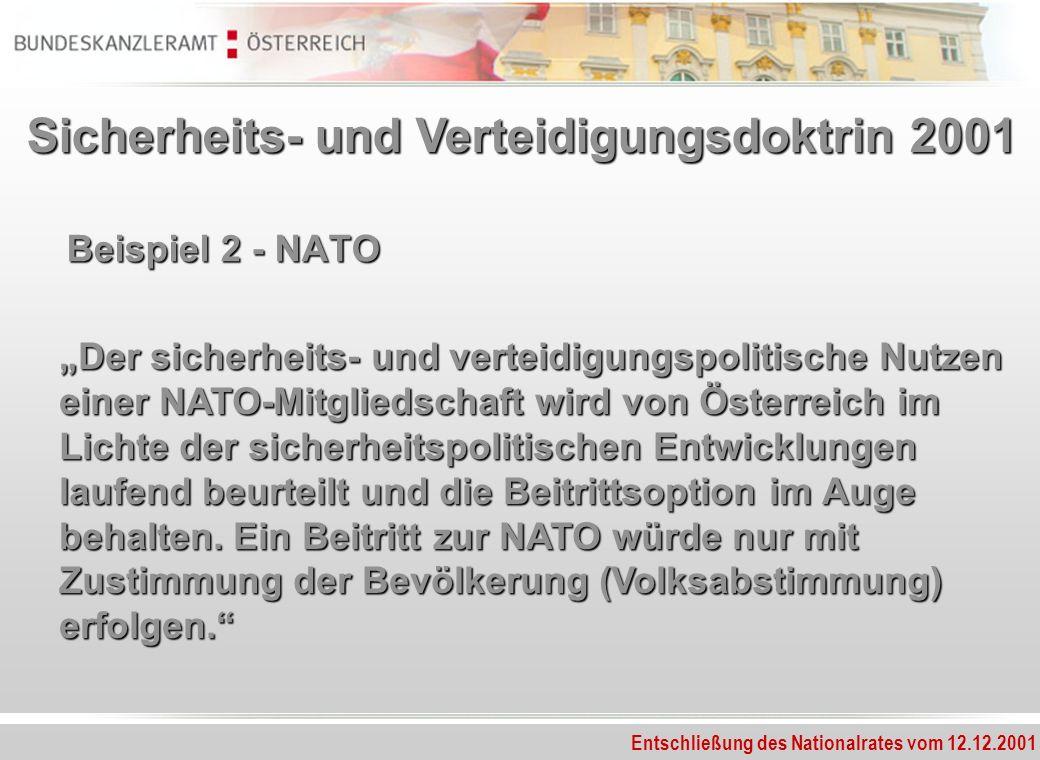 Entschließung des Nationalrates vom 12.12.2001