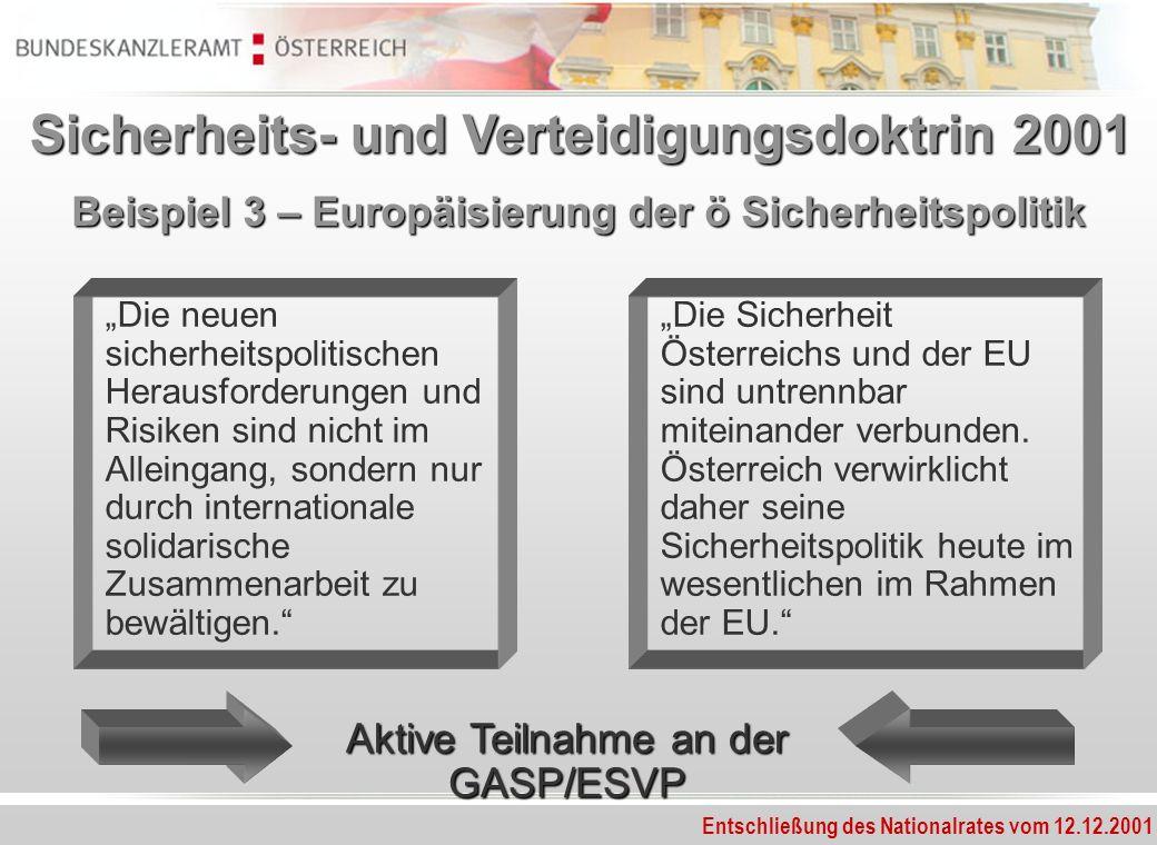 Beispiel 3 – Europäisierung der ö Sicherheitspolitik