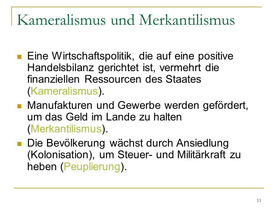 Kameralismus und Merkantilismus