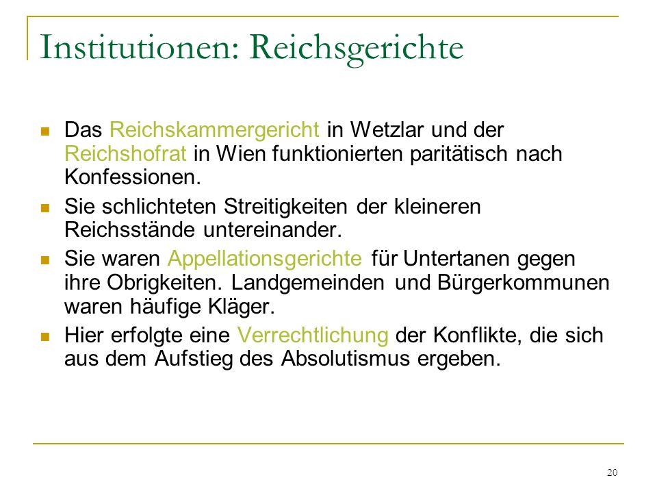 Institutionen: Reichsgerichte