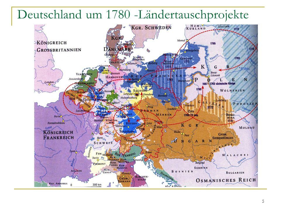 Deutschland um 1780 -Ländertauschprojekte