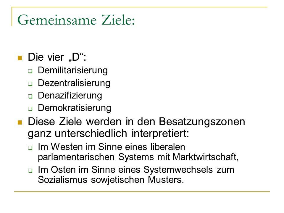 """Gemeinsame Ziele: Die vier """"D :"""