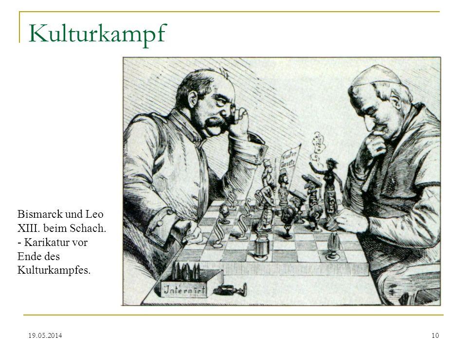 Kulturkampf Bismarck und Leo XIII. beim Schach. - Karikatur vor Ende des Kulturkampfes. 31.03.2017
